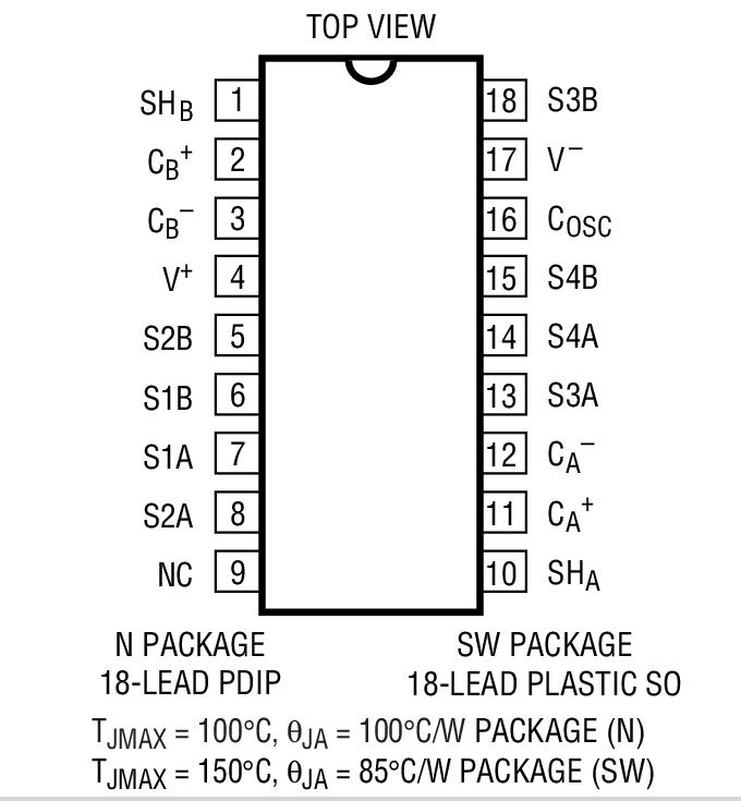 Ltc1043cn-pbf datasheet, pinout,application circuits ltc1043.