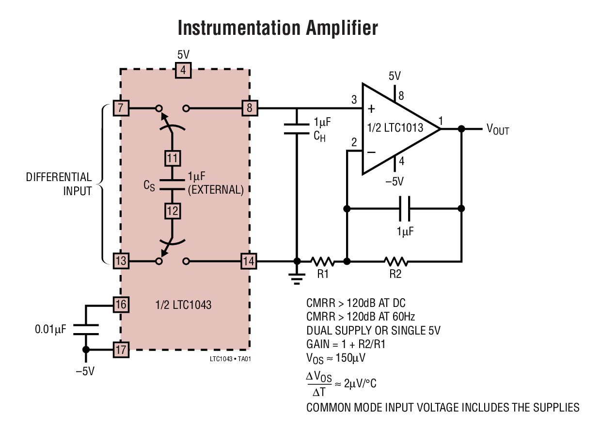 Ltc1043 Dual Precision Instrumentation Switched Capacitor Building Variable Gain Differential Input Amplifier Circuit Is Typical Application
