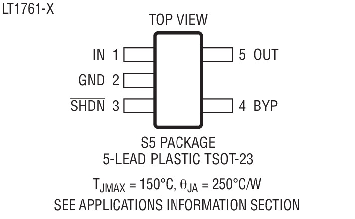 lt1761 - 100ma, low noise, ldo micropower regulators in tsot-23