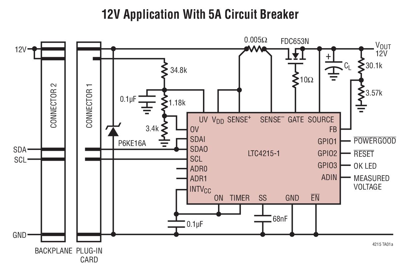 LTC4215-1 / LTC4215-3 热插拔 (Hot SwapTM) 控制器允许电路板在带电背板上安全地插入和拔出。利用一个外部 N 沟道传输晶体管,可使电路板电源电压和浪涌电流以一个可调速率斜坡上升。一个I2C接口和内置 ADC 实现了负载电流、电压和故障状态的监视。 该器件具有可调折返电流限值功能和一个负责设定浪涌电流的 dI/dt 的软起动引脚。一个 I2C 接口可以把该器件配置,以在 LTC4215-1 / LTC4215-3 检测到一个电流限制故障之后锁断或自动再起动。 该控制器还
