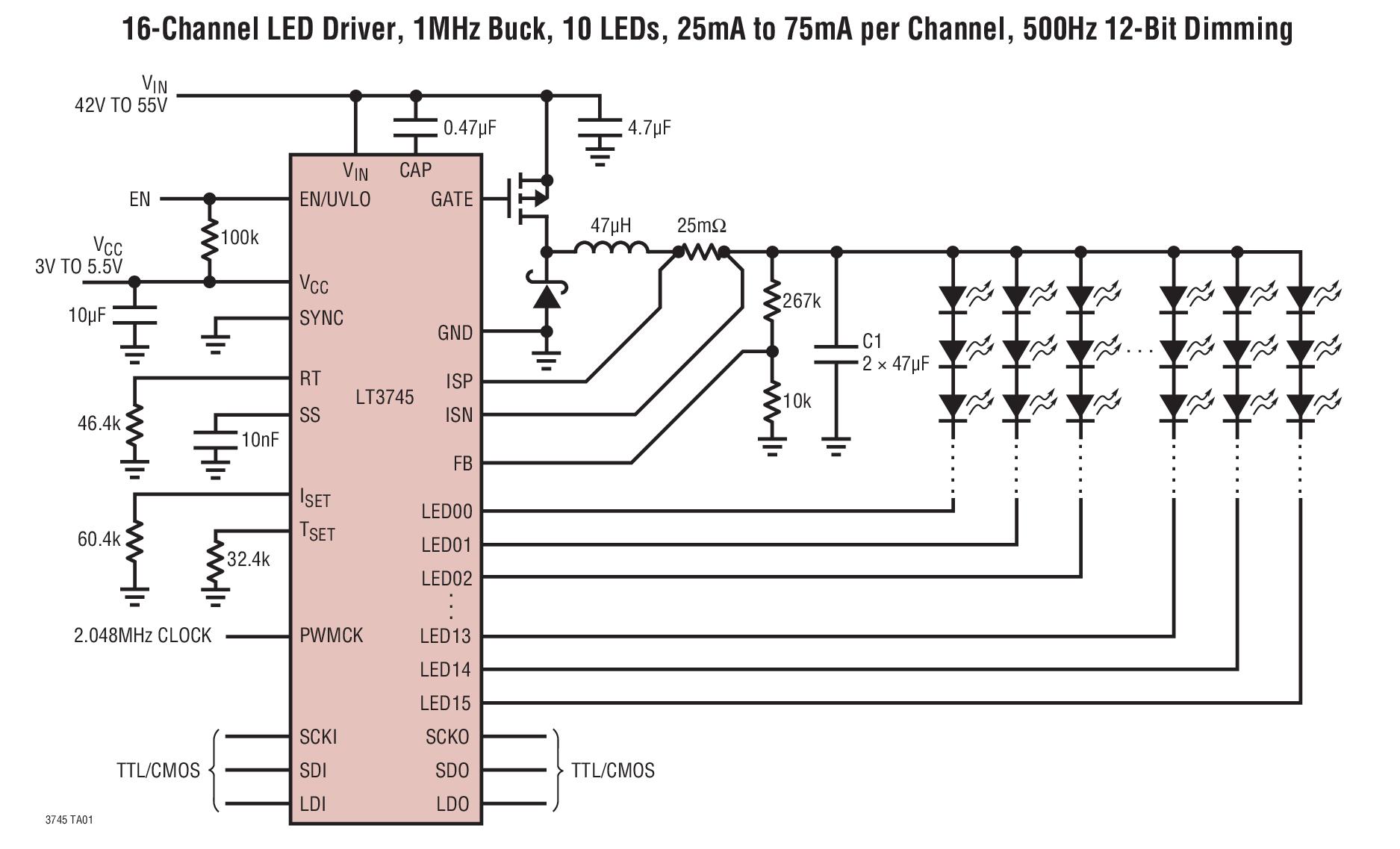 (典型值为 ±1%) 6 位点校正电流调节 12 位灰度等级 pwm 调光 0.